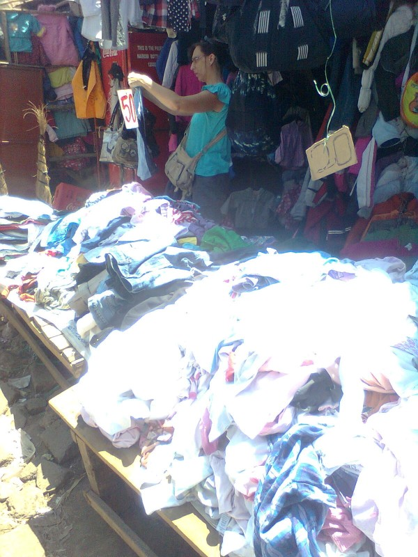 Shopping in the piles of clothing
